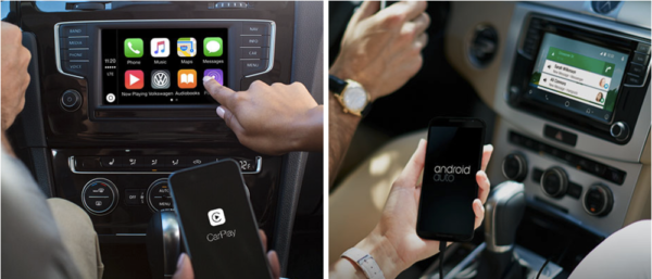 People using Android Auto and Apple CarPlay in different VW models