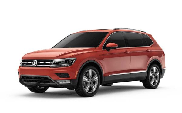 Red 2018 VW Tiguan against white background