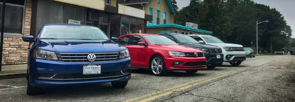 A lineup of VW cars for sale